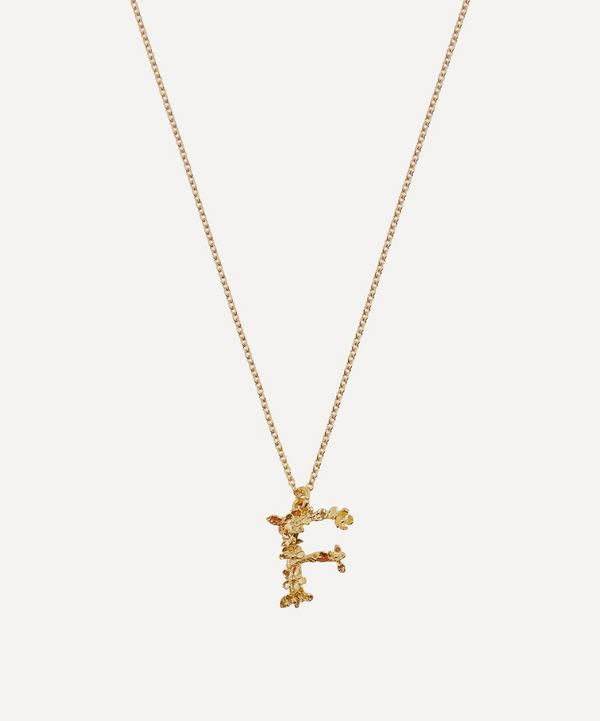 Gold-Plated Floral Letter F Alphabet Necklace