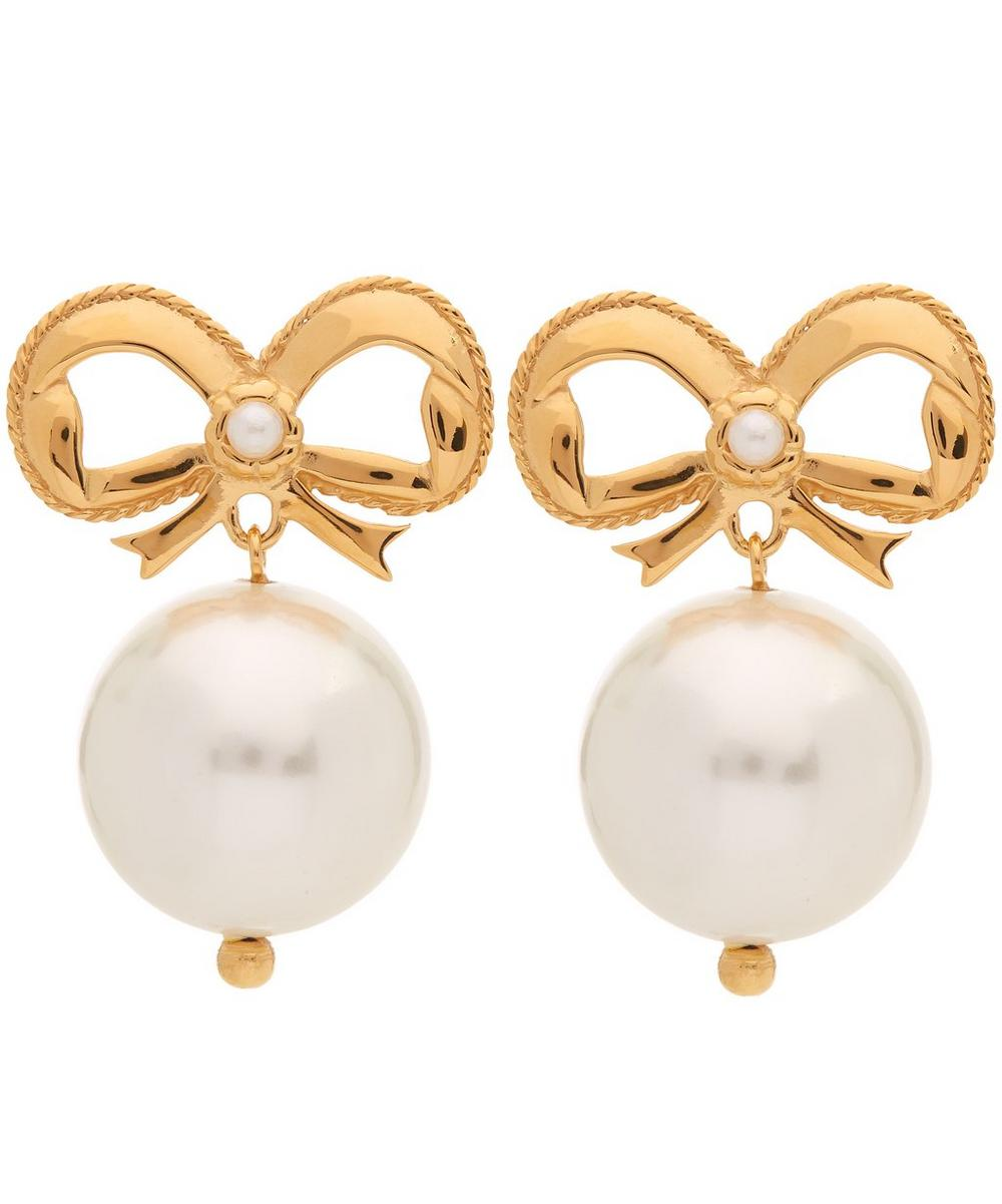 Gold-Plated Bow and Faux Pearl Drop Earrings