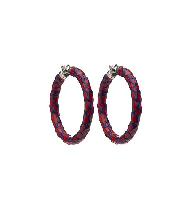 Enamelled Silver Large Mosaic Hoops