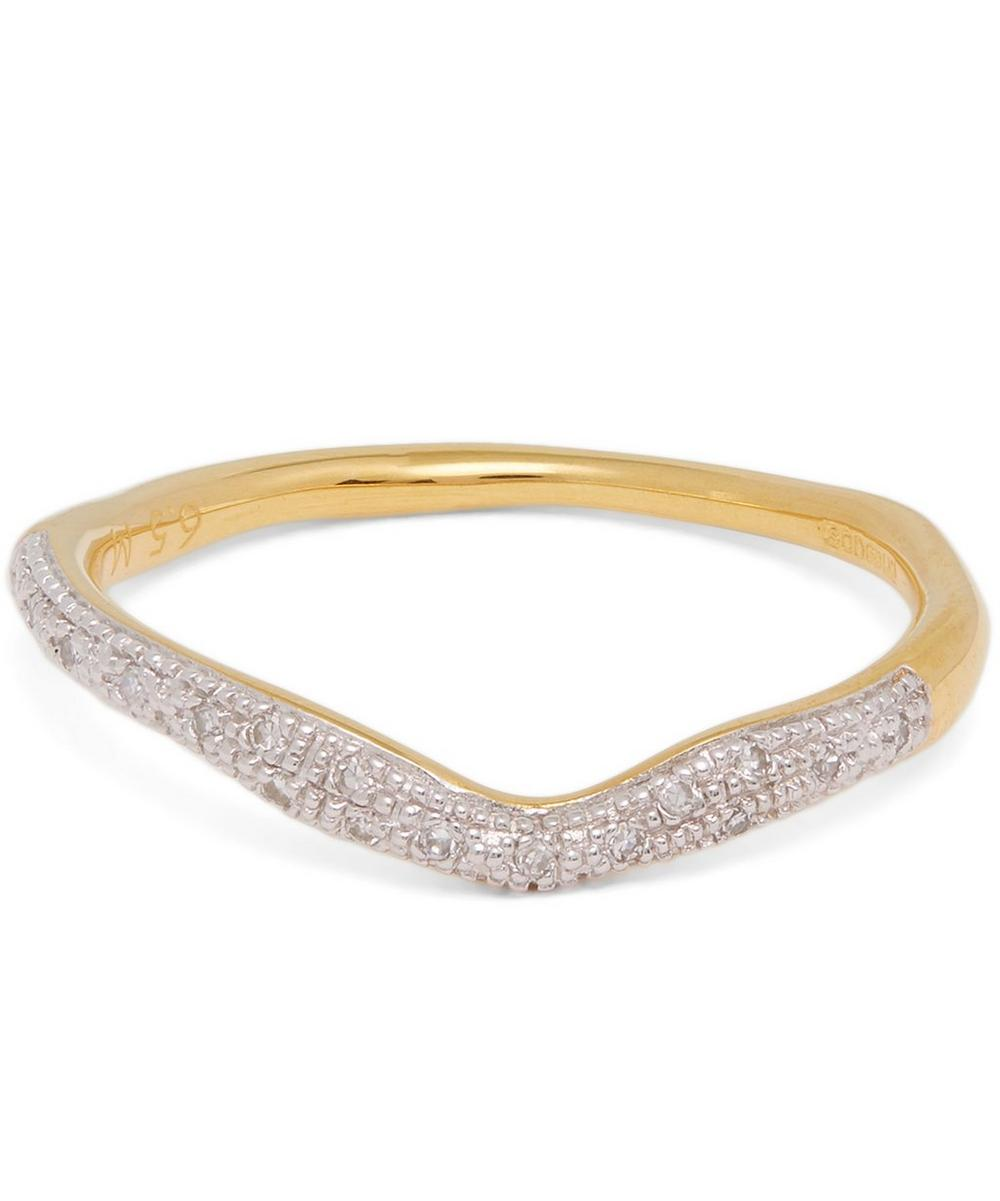 Gold Plated Riva Diamond Wave Stacking Ring