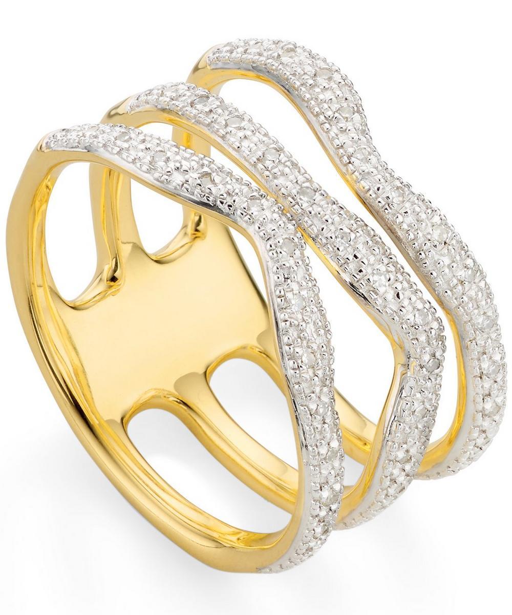 Gold Vermeil Riva Wave Triple Band Diamond Ring