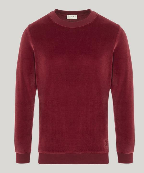 Mathias Monogram Embroidered Velvet Sweater