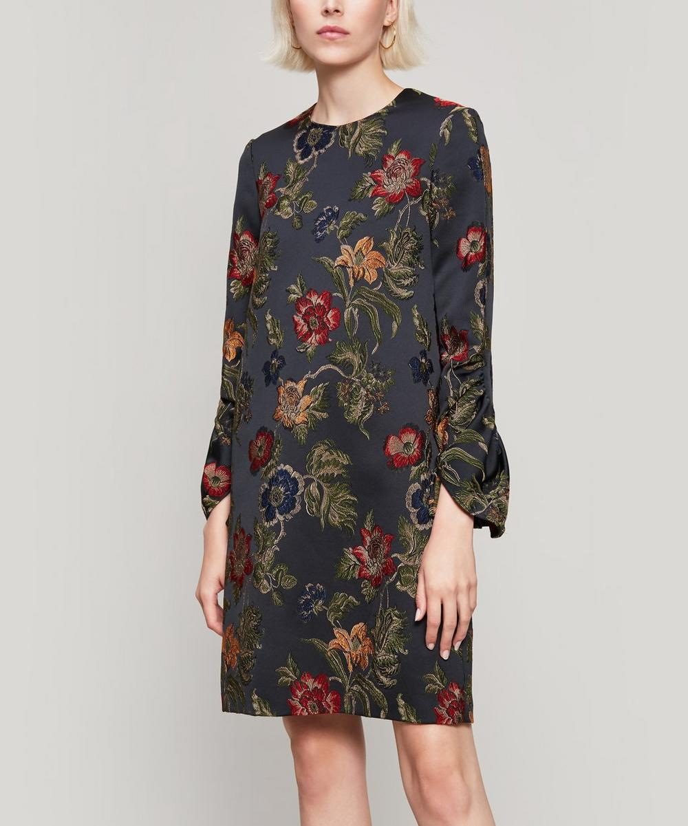 Ruffled Satin-Jacquard Mini Dress