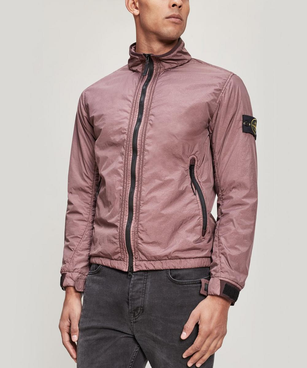 Crinkle Reps Zipped Funnel Neck Jacket