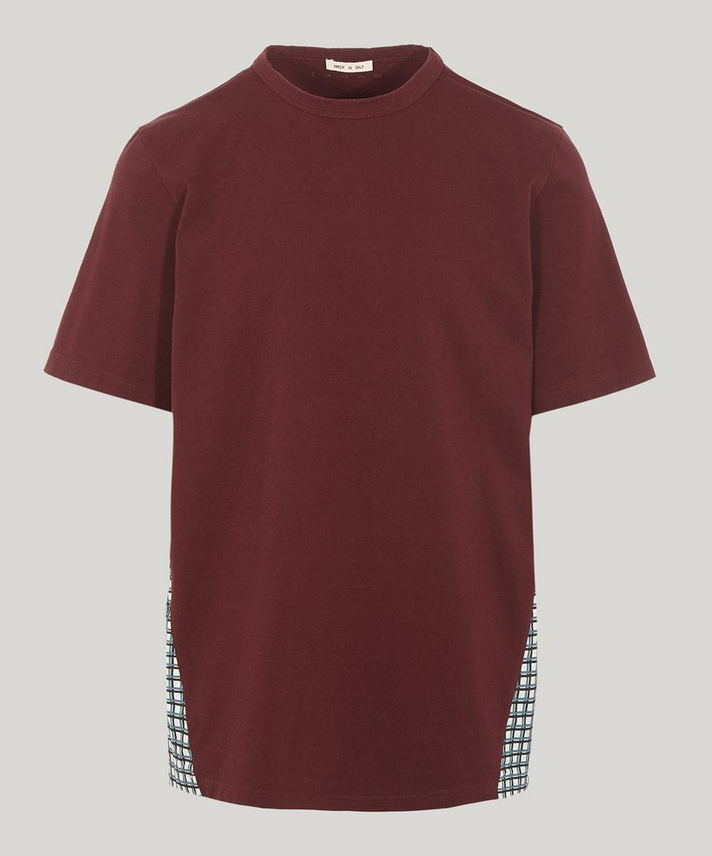 Contrast Check Back Cotton T-Shirt