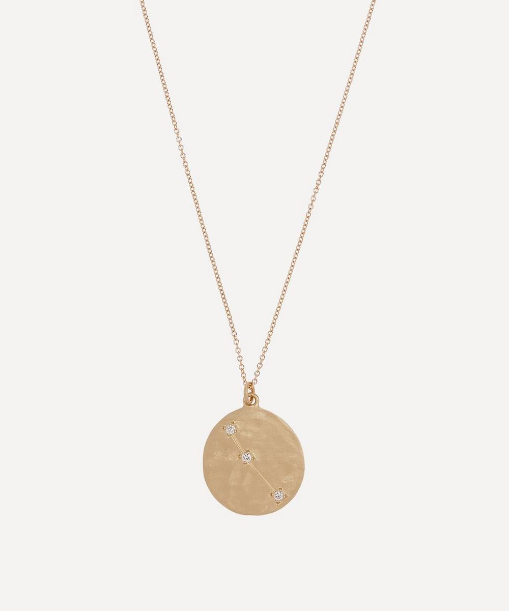 Gold Aries Astrology Diamond Necklace