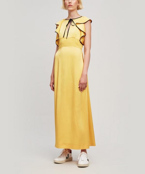 Tie-Front Ruffled Satin Maxi Dress
