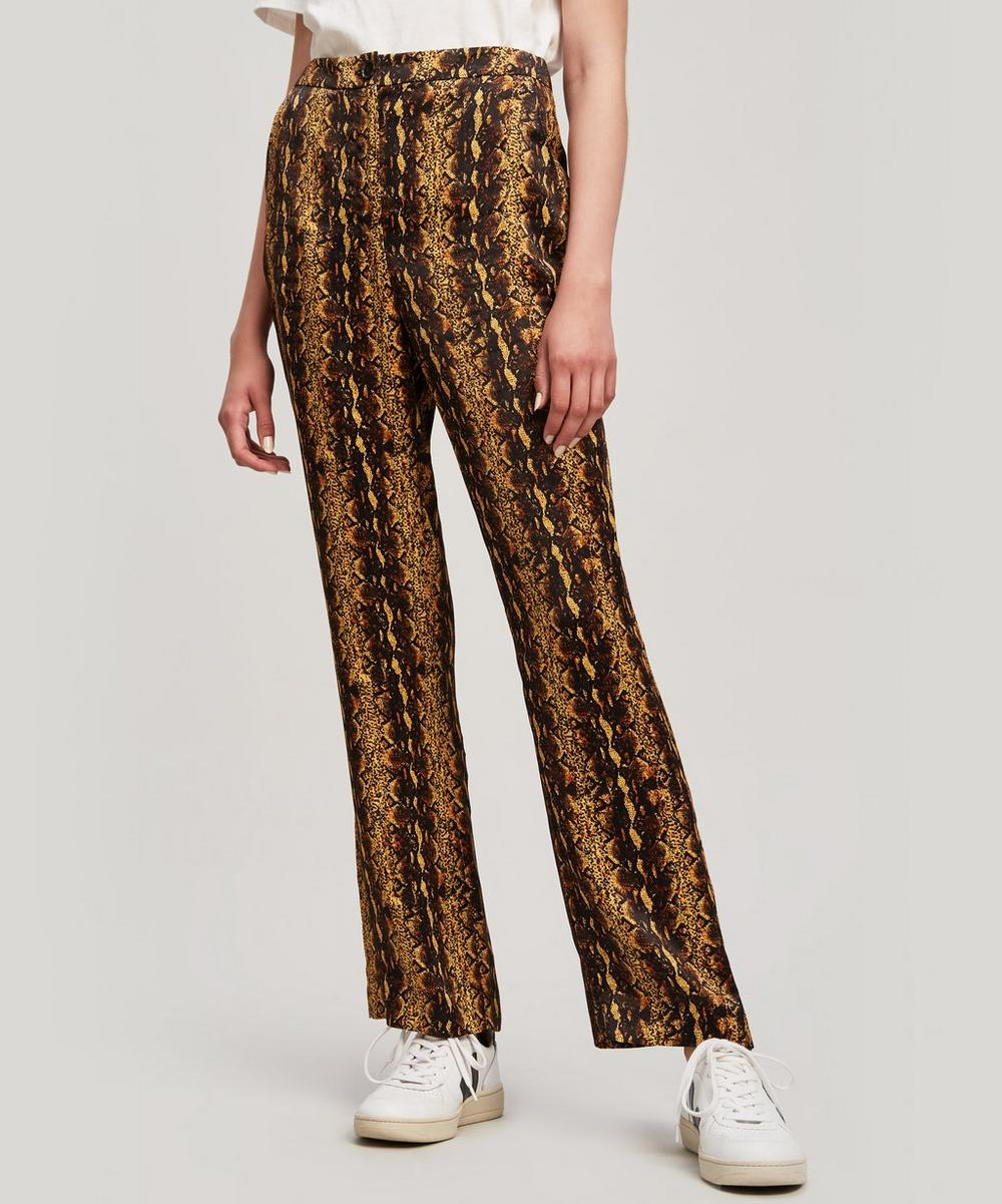 Tailored Snake Print Cropped Flare Trousers