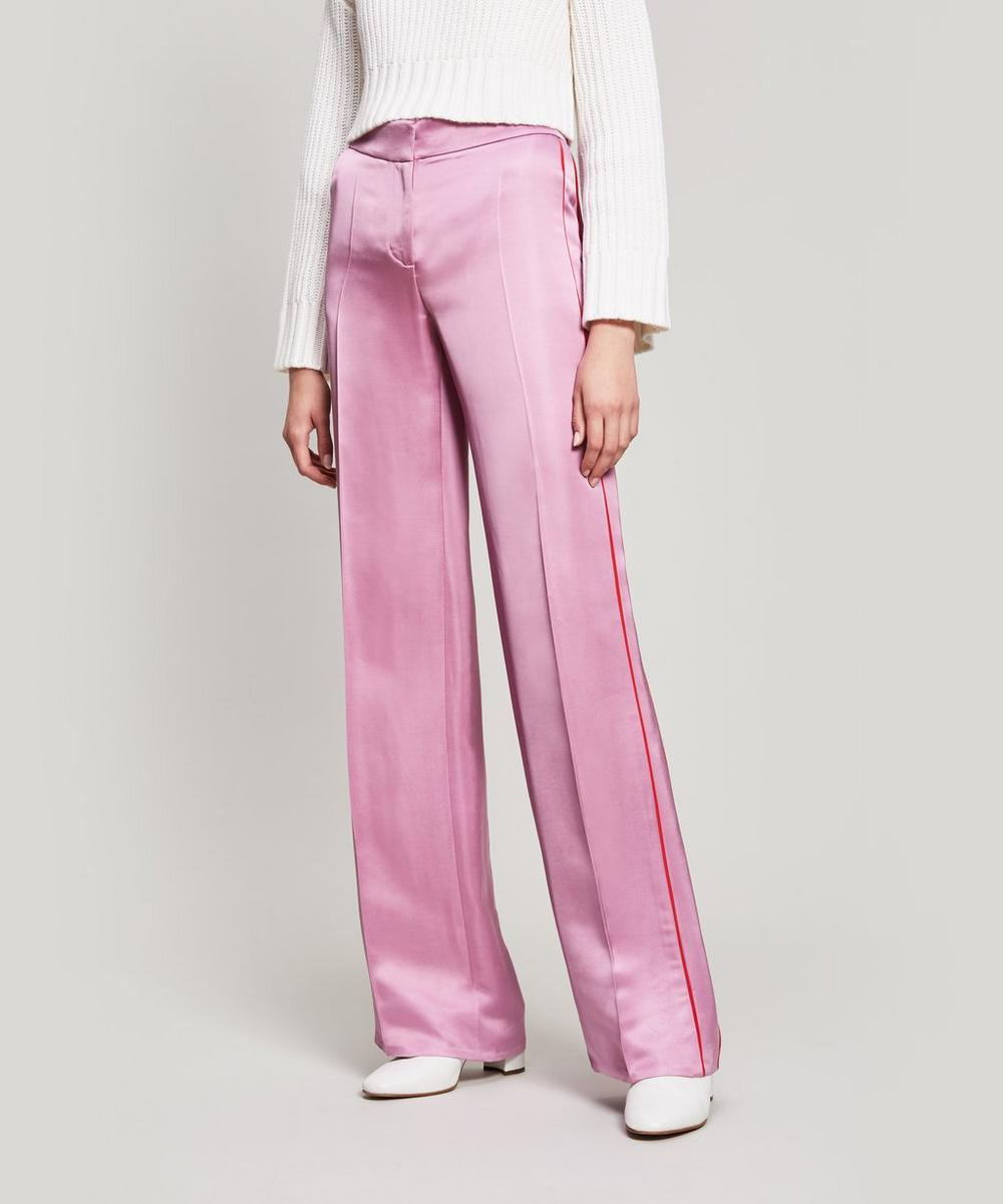 Piping-Trimmed Satin Trousers