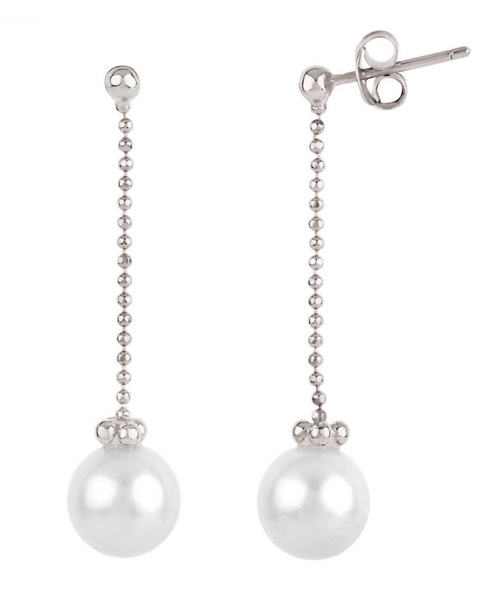 Silver Freshwater Pearl Chain Drop Earrings