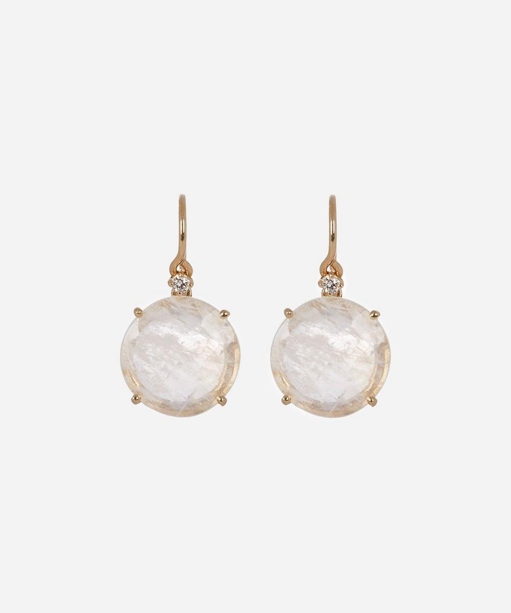 Gold Rainbow Moonstone Diamond Drop Earrings