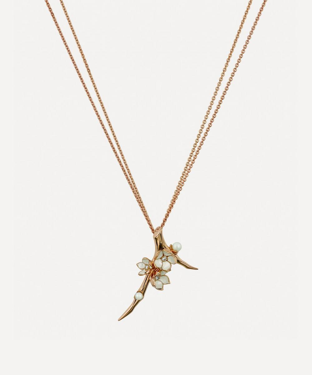 Rose Gold Vermeil Diamond and Pearl Cherry Blossom Branch Pendant Necklace