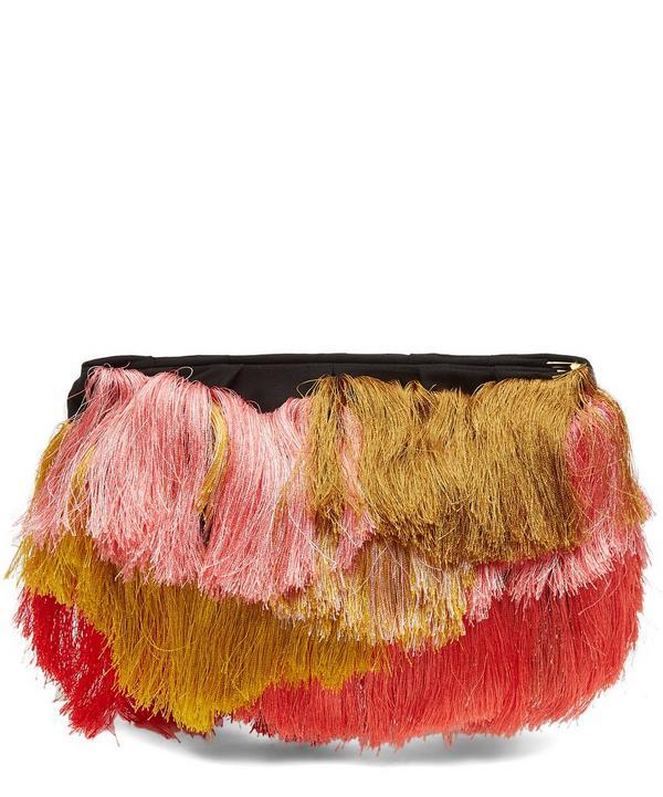 Soo Zebra Fringe Clutch Bag