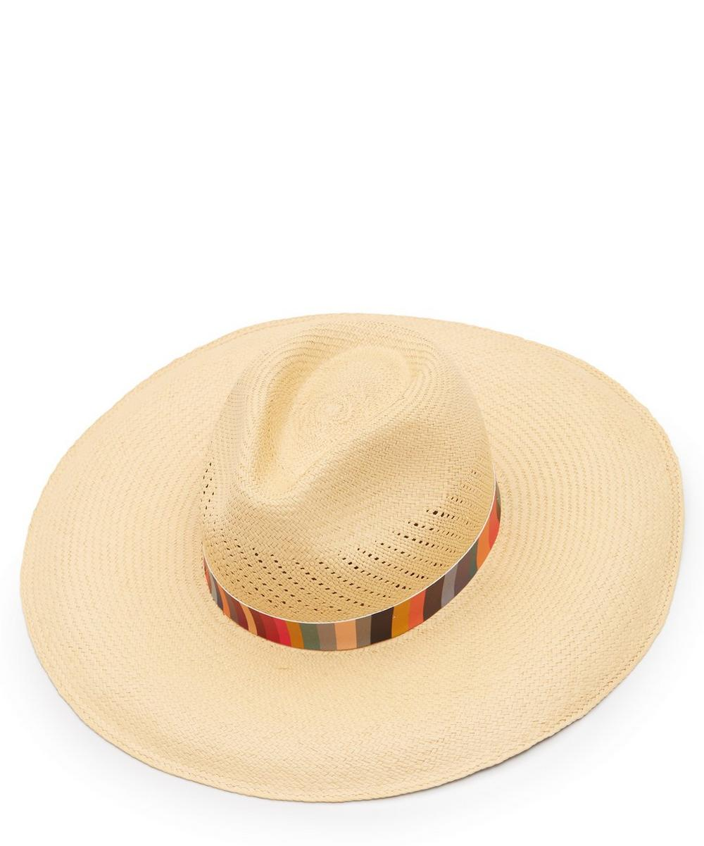 PAUL SMITH | Swirl Stripe Panama Straw Hat | Goxip