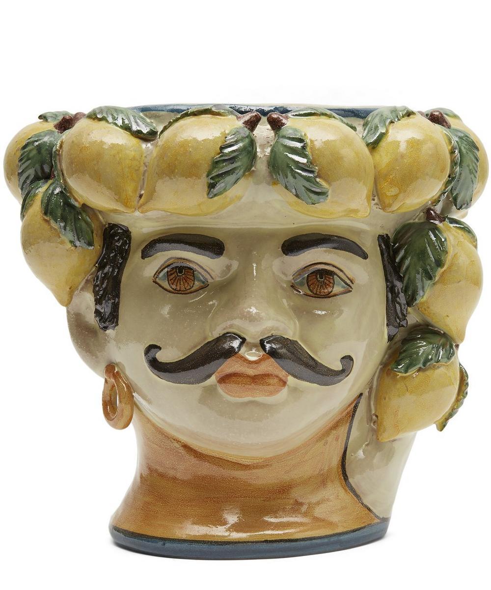 Medium Mans Head with Lemons Vase