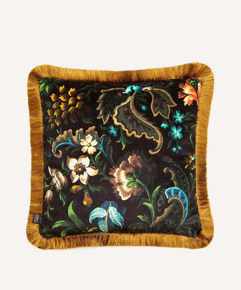 Medium Florika Onyx Fringe Cushion