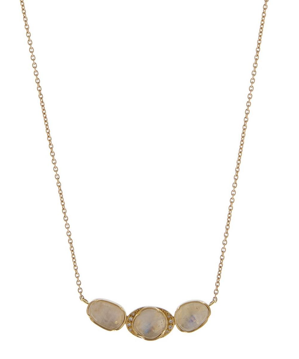 Gold Orbit Halo Moonstone And Diamond Necklace
