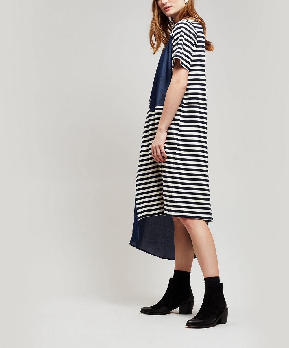 CLU | Mixed Media Stripe Dress | Goxip