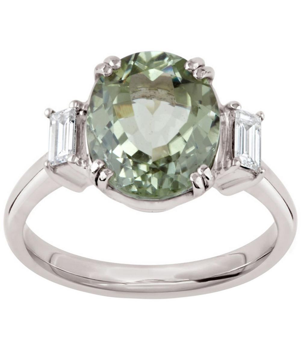 White Gold Grace Kelly Tourmaline and Diamond Ring