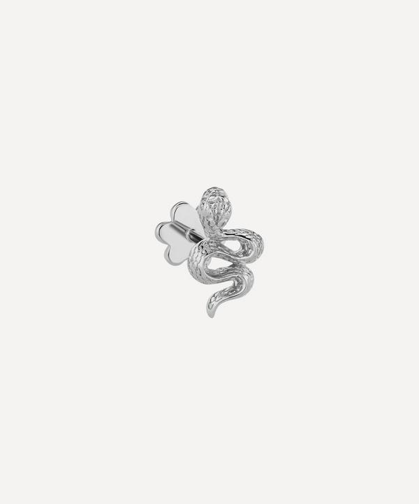 Large Engraved Diamond Snake Threaded Stud Earring Left