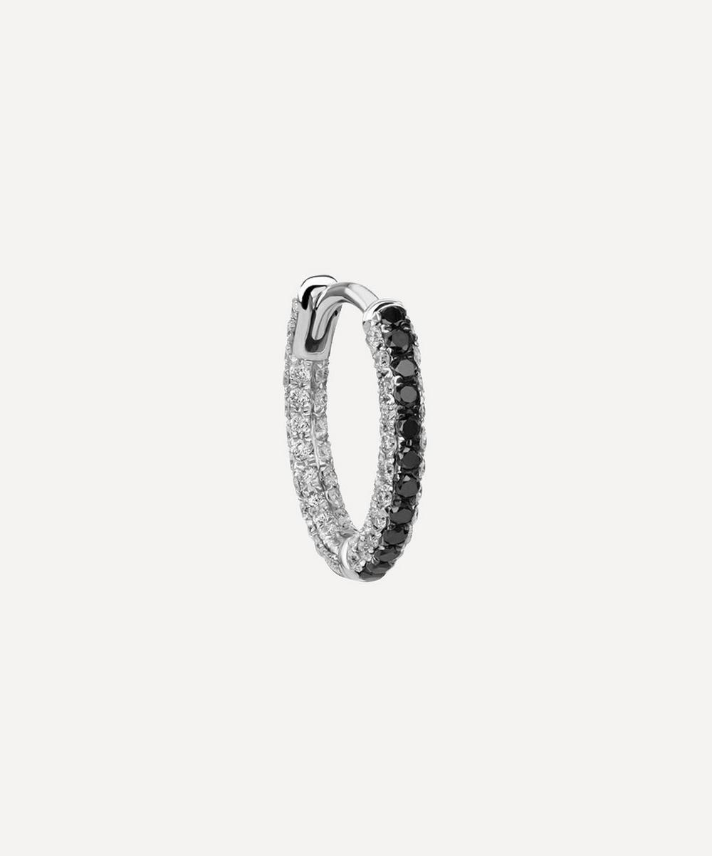 5/16' Black and White Diamond Five Row Pave Hoop Earring