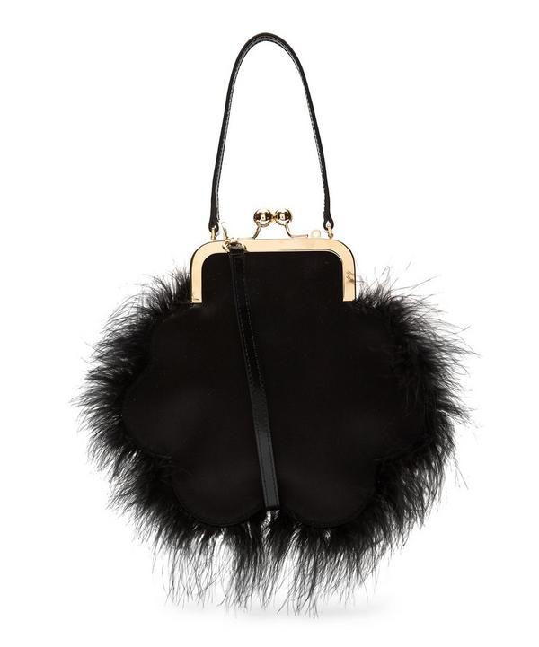 Feather-Trim Satin Cross-Body Clutch Bag
