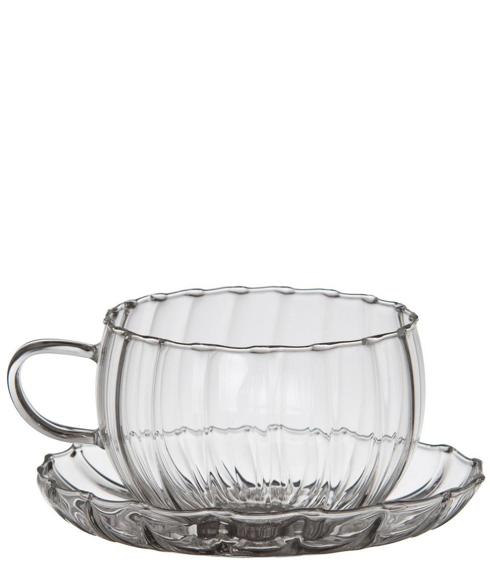 Glass Tea Cups With Saucers Set Of Two