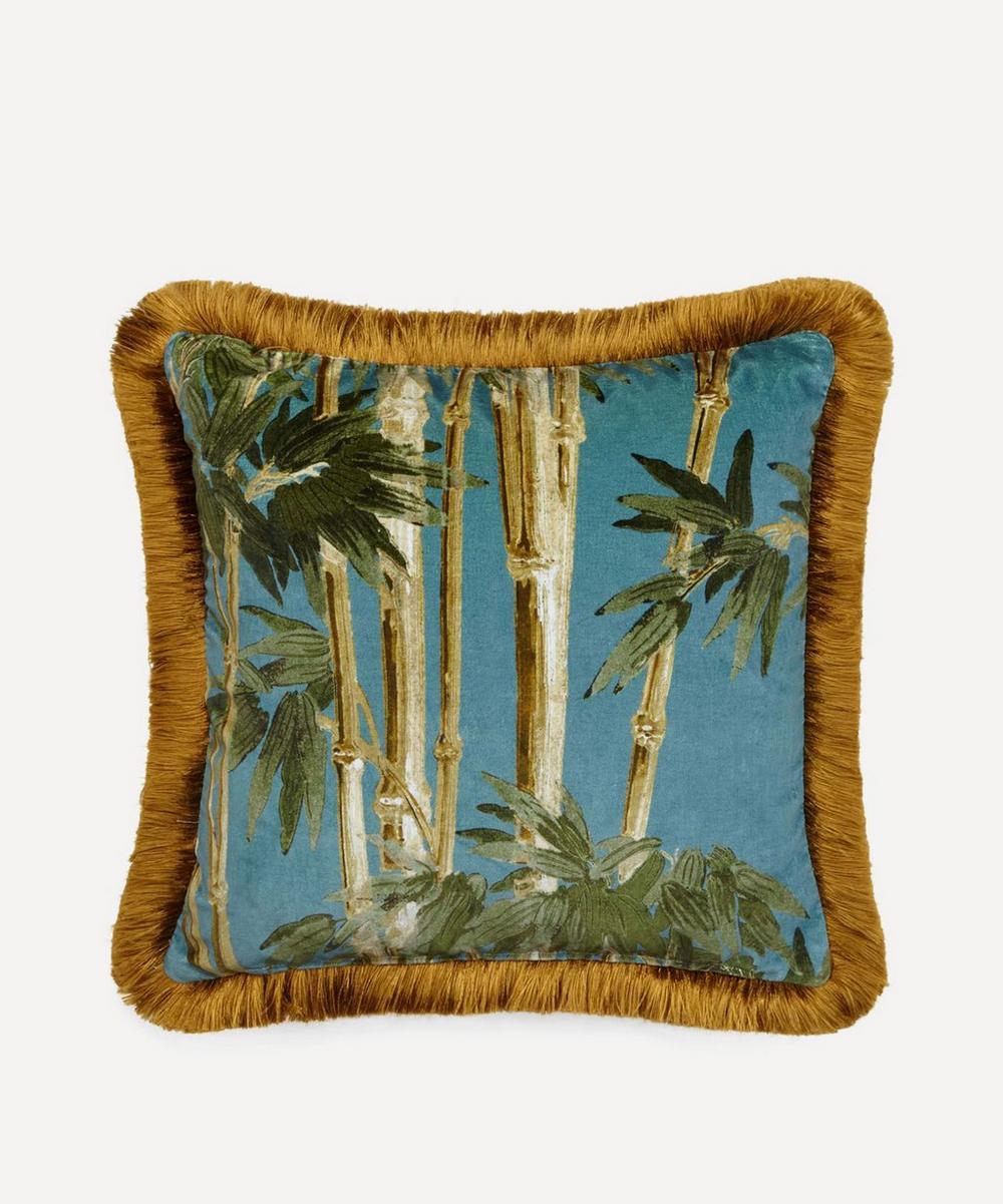 Bambusa Medium Fringed Velvet Cushion