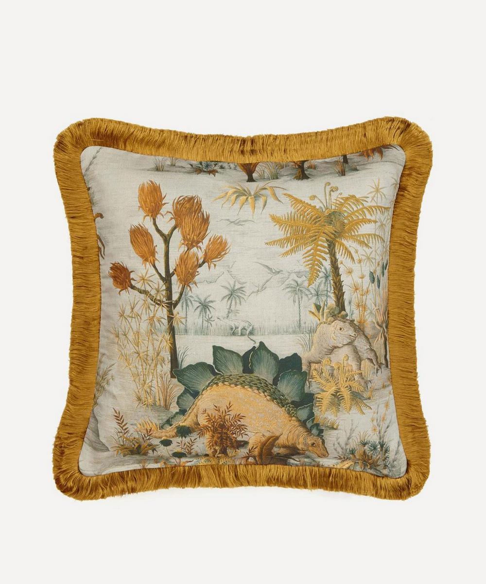 Dinosauria Medium Fringed Cotton-Linen Cushion