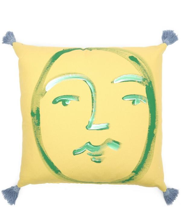 Hand-Painted Face Tasselled Cushion