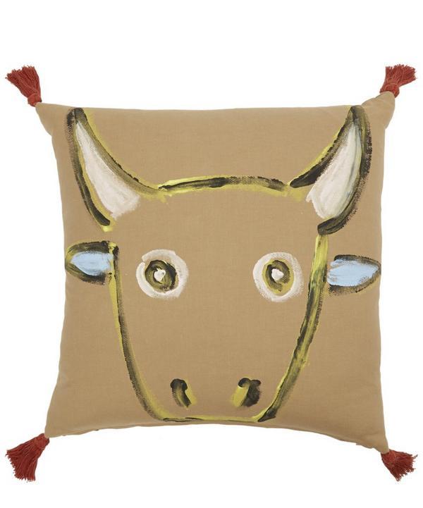 Hand-Painted Toro Tasselled Cushion