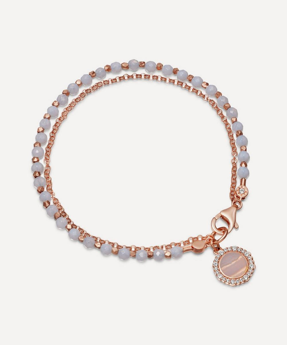 Rose Gold Vermeil Luna Lace Agate Sapphire Biography Bracelet