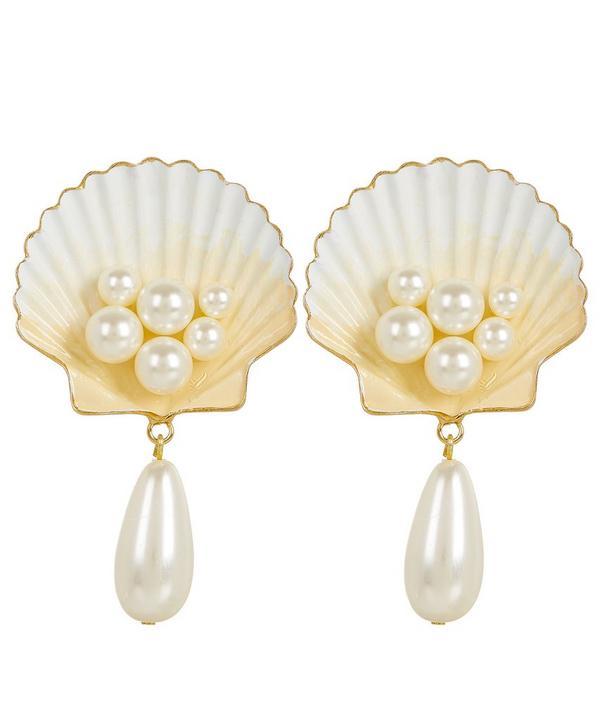 Capri Swarovksi Pearl Shell Clip-On Earrings