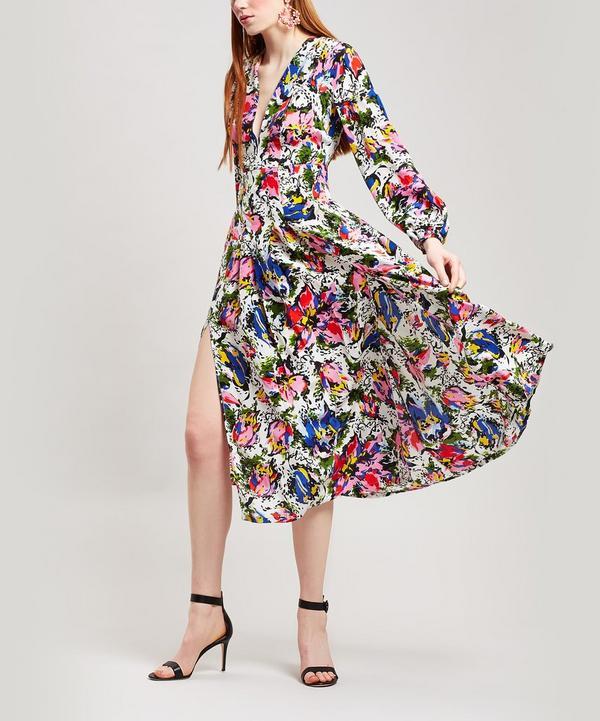 Camellia Flower Print Midi-Dress