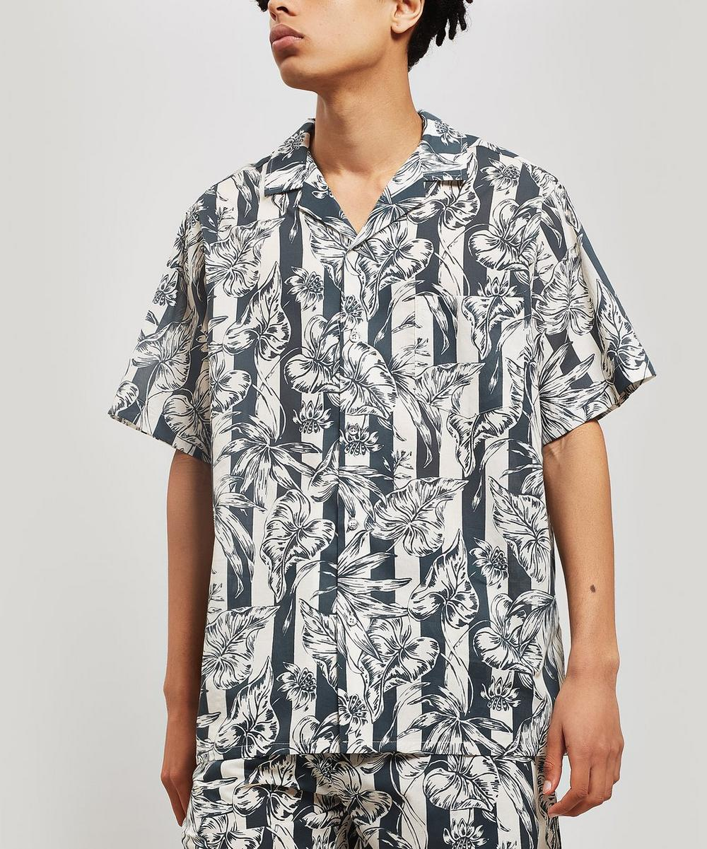 DESMOND & DEMPSEY   The Purist Print Cotton Cuban Pyjama Shirt   Goxip