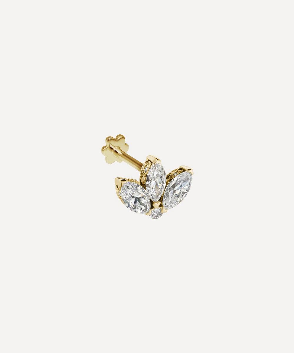 3mm Mini Diamond Engraved Lotus Threaded Stud Earring