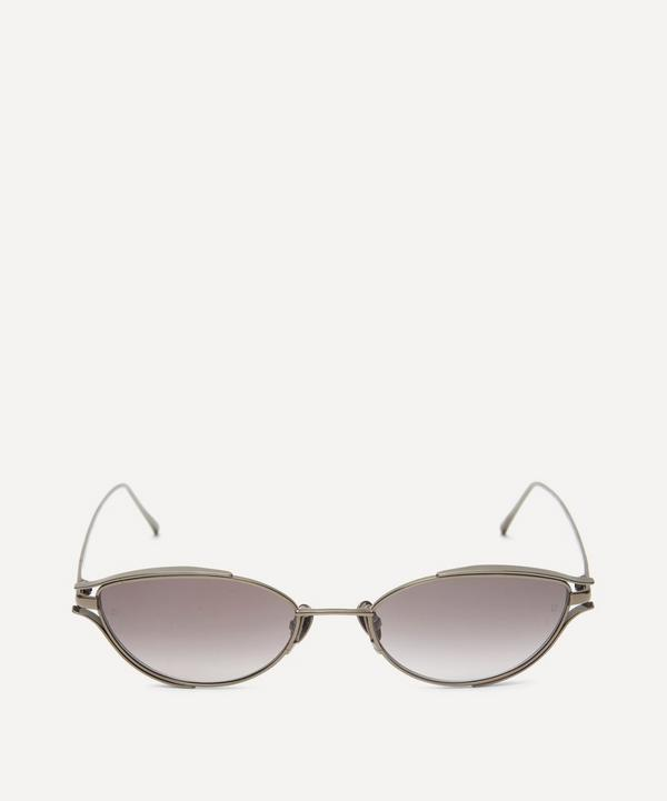 Nickel-Plated Slim Oval Sunglasses