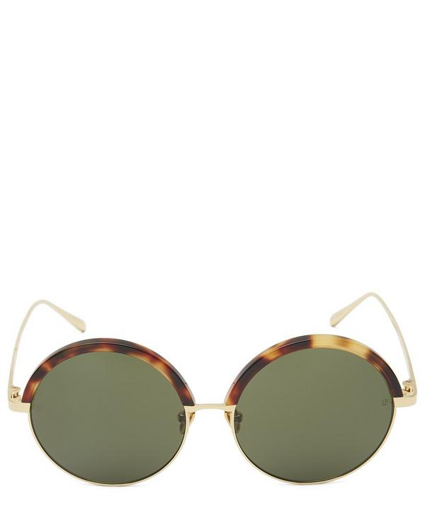 Gold-Plated Oversized Round Half-Rim Sunglasses