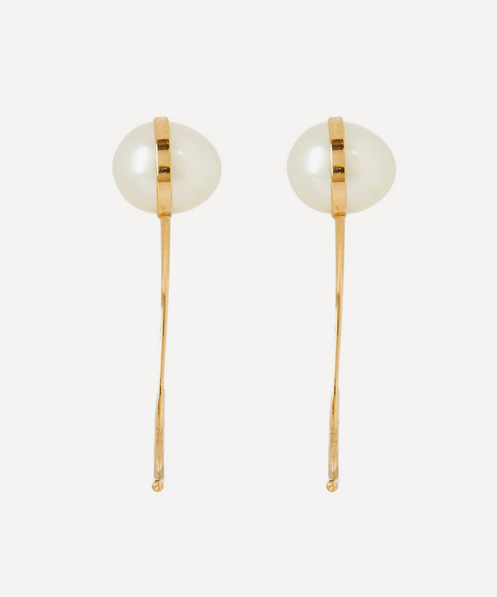 Gold Pearl Swoop Drop Earrings