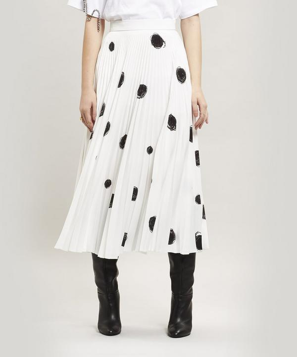Dot Print Pleated Skirt