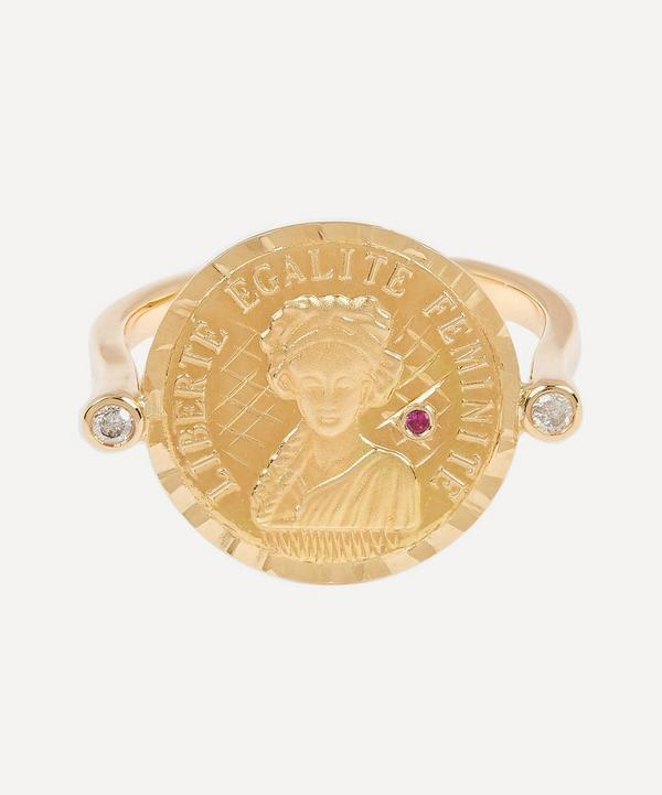 Gold Louise d'Or Ruby Coin Ring