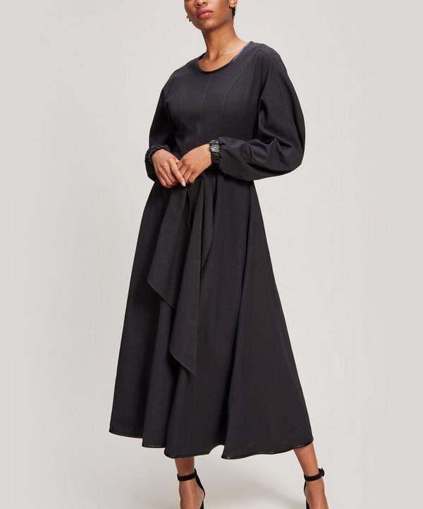 Maren Faux Leather-Trimmed Cotton Maxi Dress