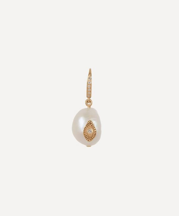 Gold Charlie N°1 Diamond and Pearl Drop Earring
