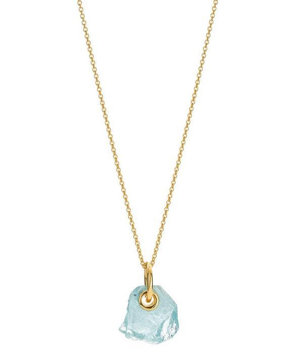 x Caroline Issa Gold Vermeil Aquamarine Pendant Necklace