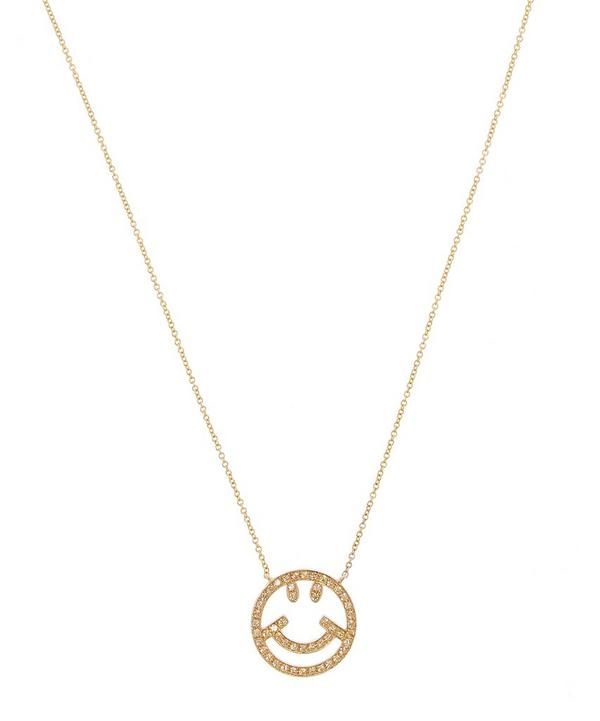 Gold Yellow Sapphire Smiley Face Pendant Necklace