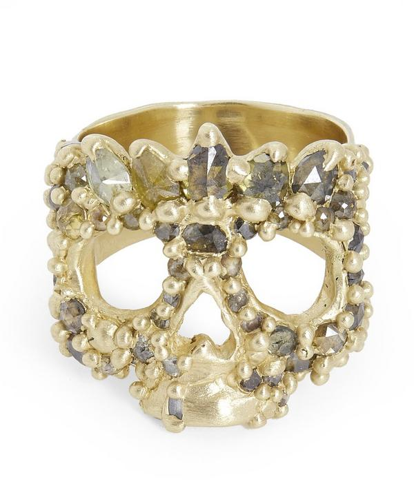 Gold Orchid Forest Diamond Skull Ring