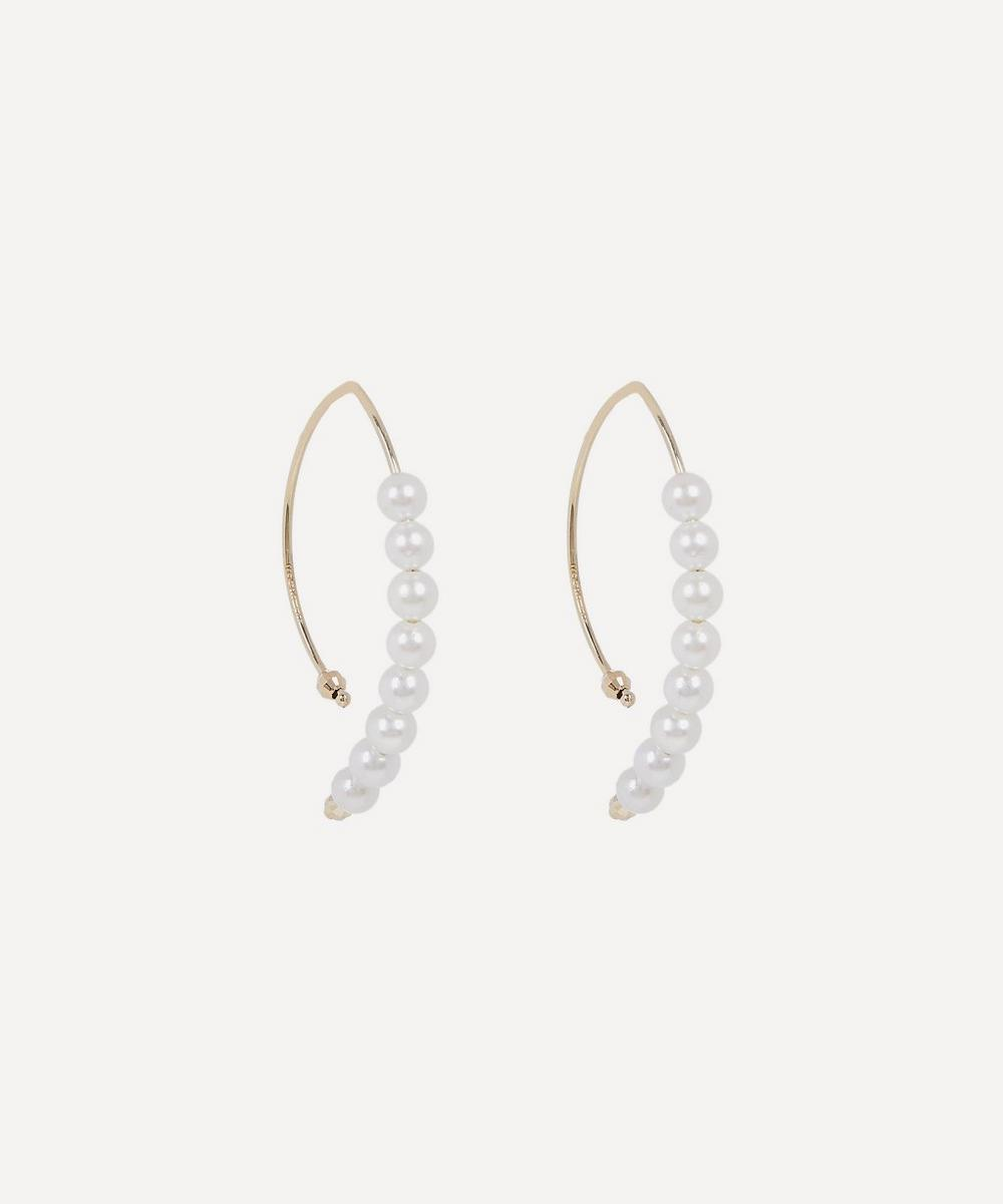 Gold Small Marquise Pearl Hoop Earrings