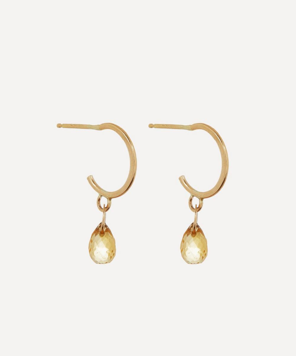 Gold Citrine Tiny Hoop Earrings