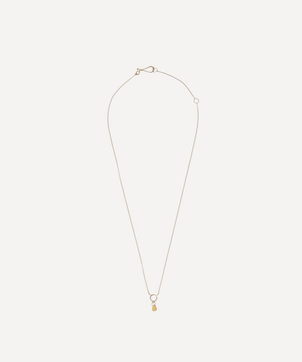 Gold Tiny Circle Citrine Pendant Necklace