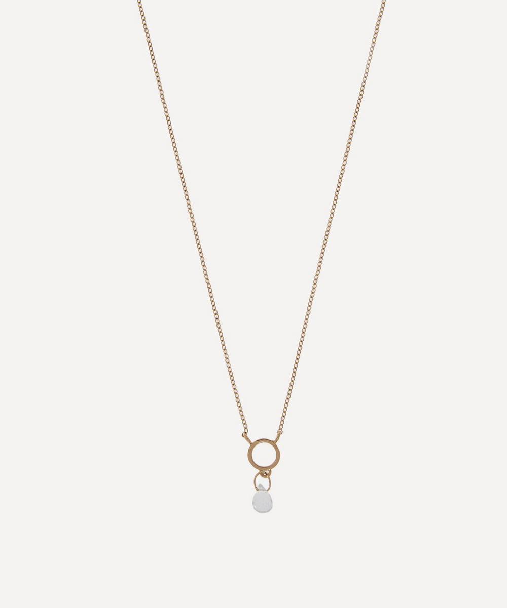 Gold Tiny Circle Aquamarine Pendant Necklace